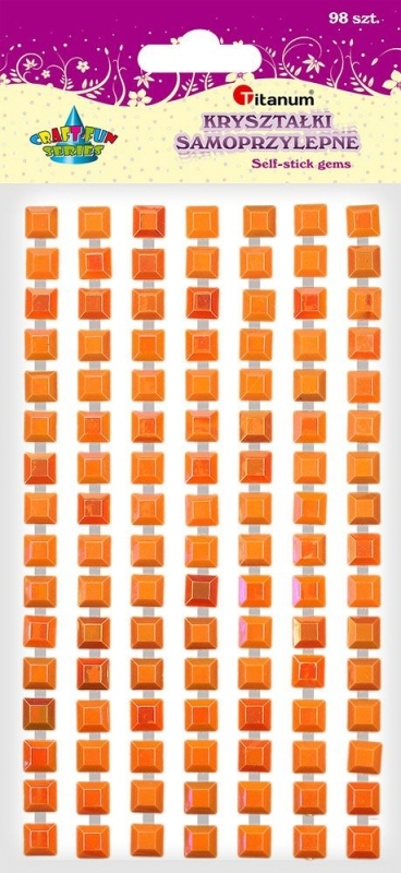 Kryształki samoprzylepne kwadrat złote A`98