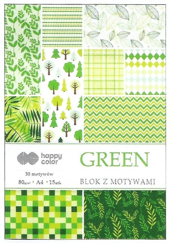 Happy Color blok z motywem Green A4 15 ark