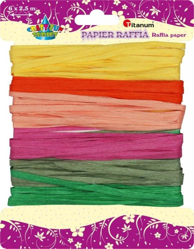 Sznurek papierowy rafia 6x2,5 m 6 kolorów