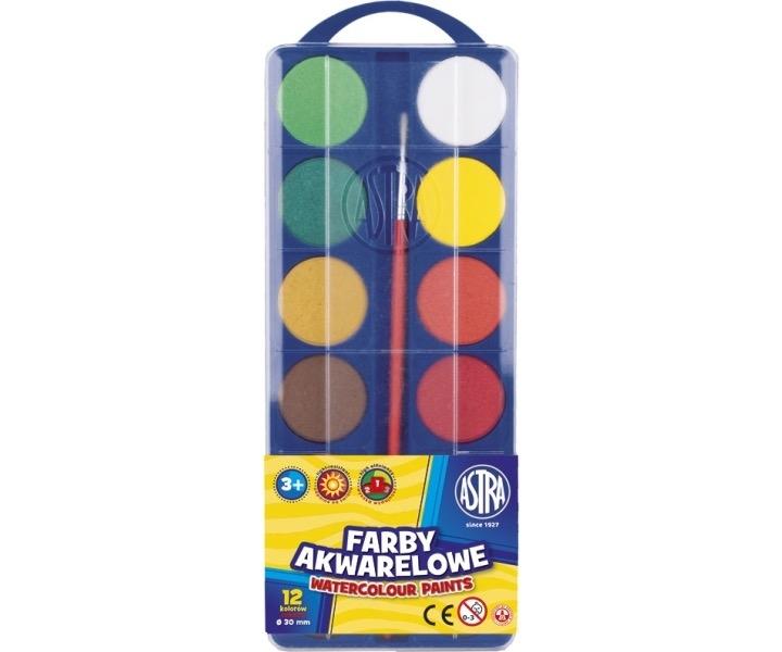 Farby akwarelowe 12 kolorów fi 30 mm Astra