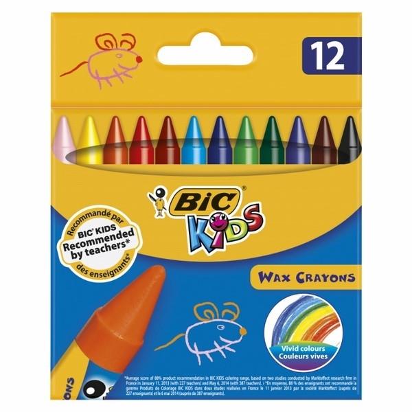 Kredki świecowe 12 kol. Wax Crayons  BIC