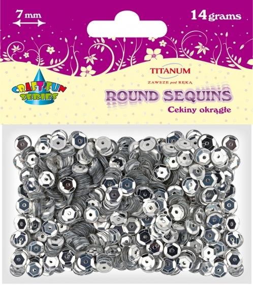 Cekiny kreatywne okrągłe metaliczne srebrne 7mm 14g