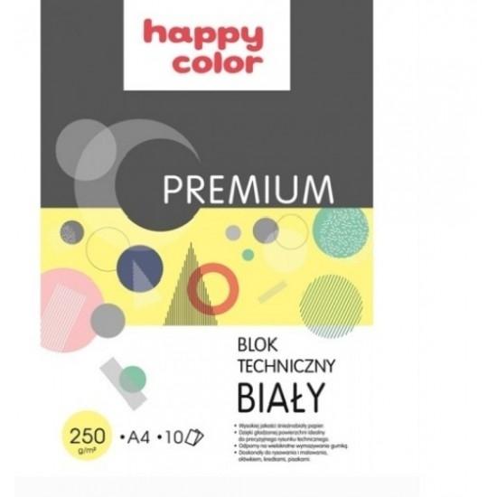 Happy Color blok techniczny biały A4 10k 250g