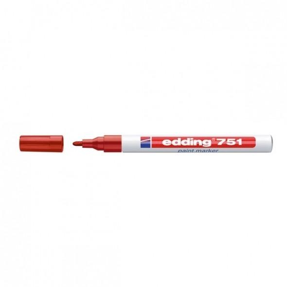Marker lakierowy Edding 1-2mm, końcowka okrągła czerwony