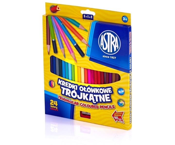 Kredki ołówkowe trójkątne Vision 24 kolory Astra